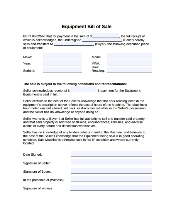 Sample Equipment Bill of Sale - 6+ Documents in PDF, Word