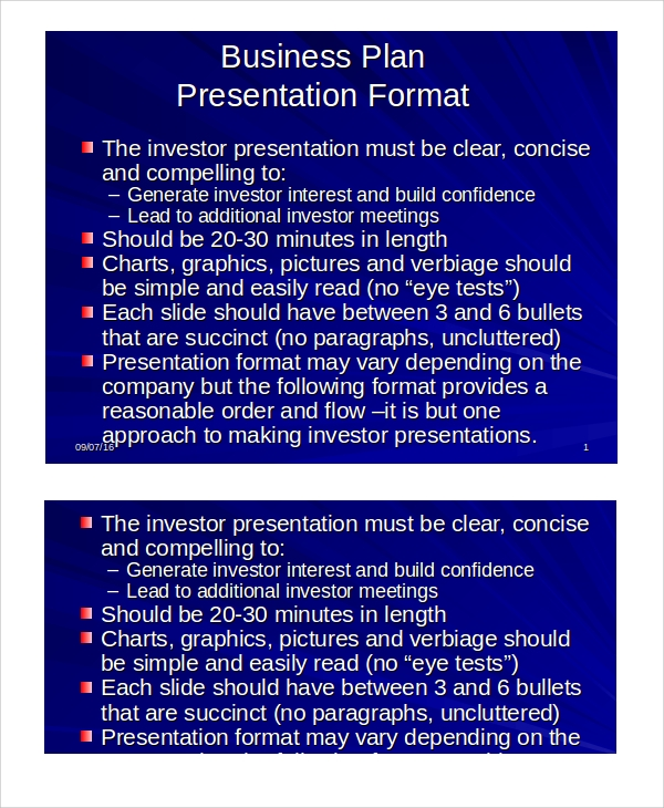 business plan presentation sample