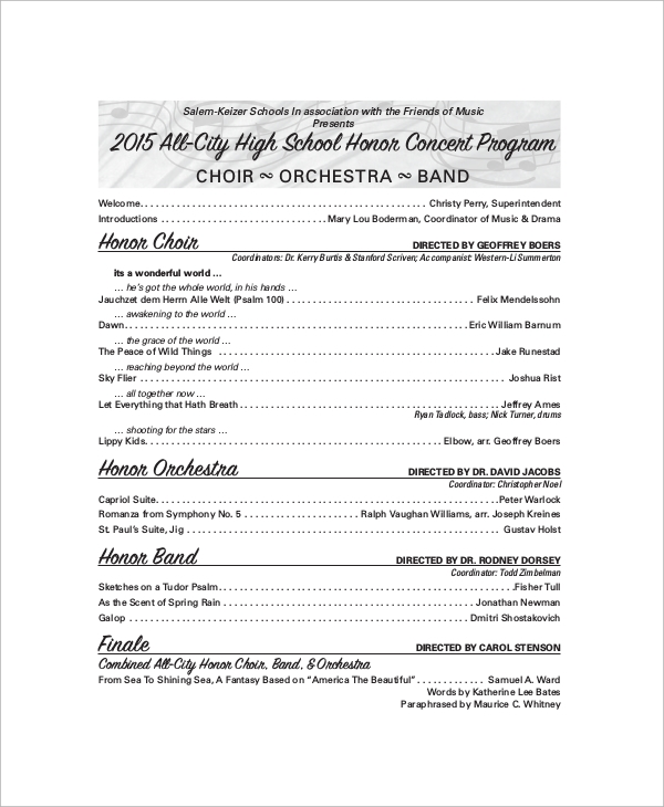 Sample Concert Program   Documents In Word Pdf