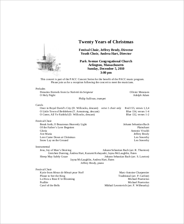 Sample Concert Program - 7+ Documents In Word, Pdf