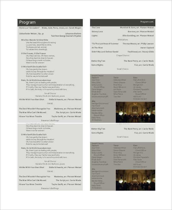 spring choral concert program