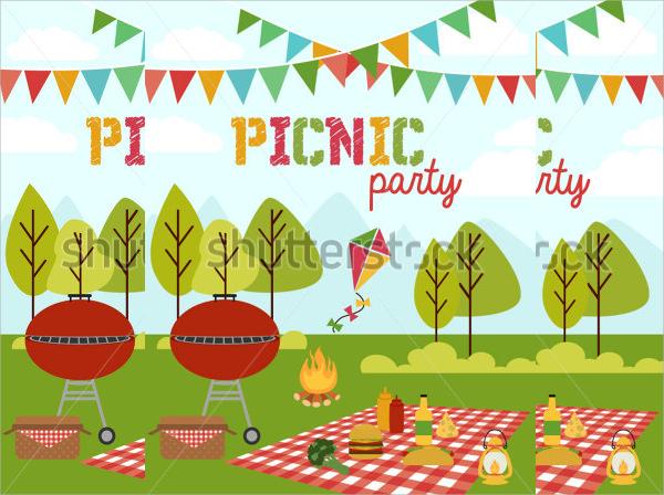 picnic party vector invitation