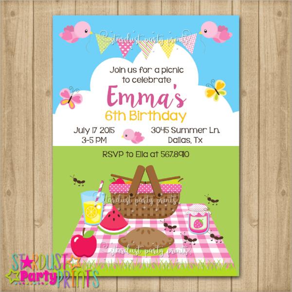 colorful picnic invitation