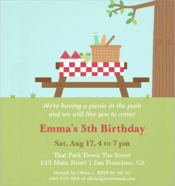 Picnic Invitations  Psd Vector Eps
