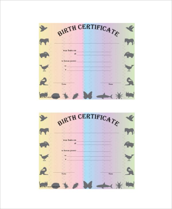 pet birth certificate