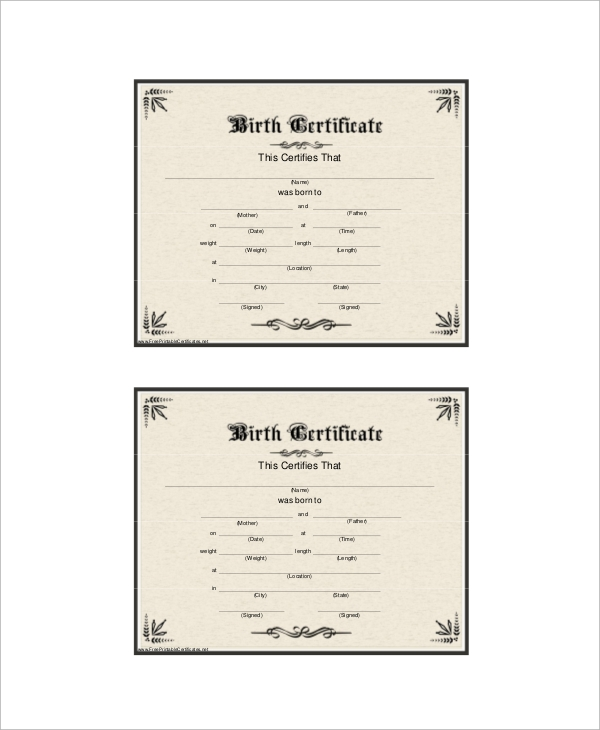 7 sample birth certificates sample templates for Official birth certificate template