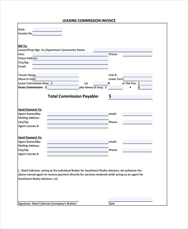 lease invoice