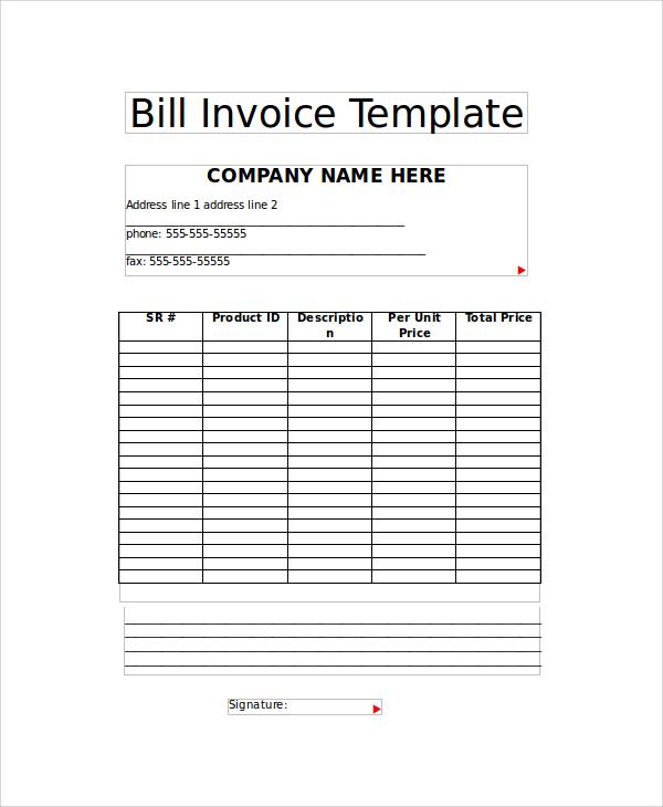 bill invoice