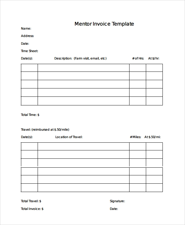 mentor invoice