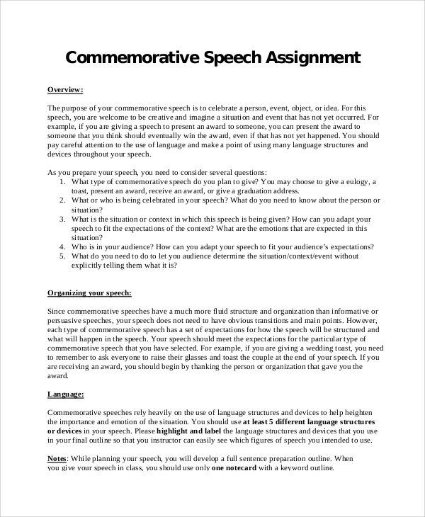 Sample Commemorative Speech 6 Documents in PDF – Ceremonial Speech Example Template