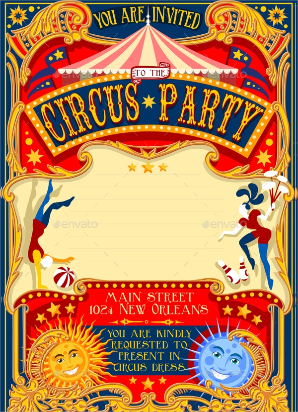 Circus Party Invitations  Psd Vector Eps