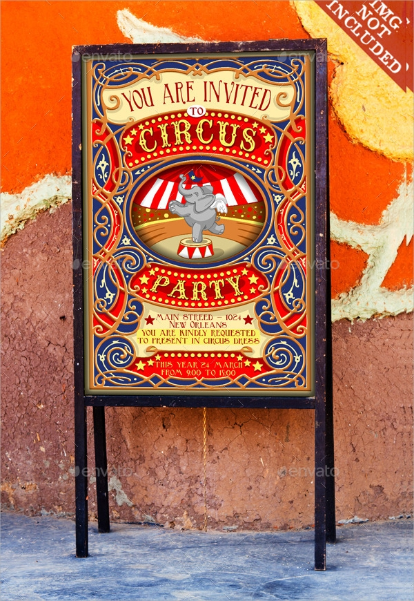 circus party invitation with elephants