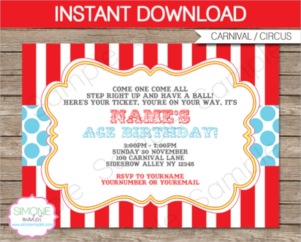 circus party invitation template free
