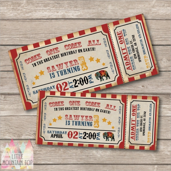circus party invitation ticket template