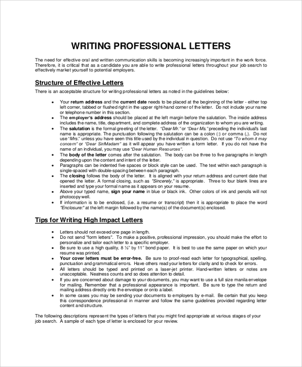 8 sample letter writings sample templates professional letter writing sample spiritdancerdesigns Gallery