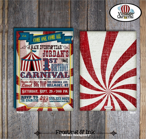 simple circus party invitation
