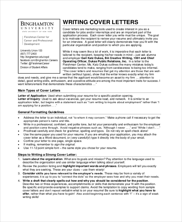 cover letter writing sample