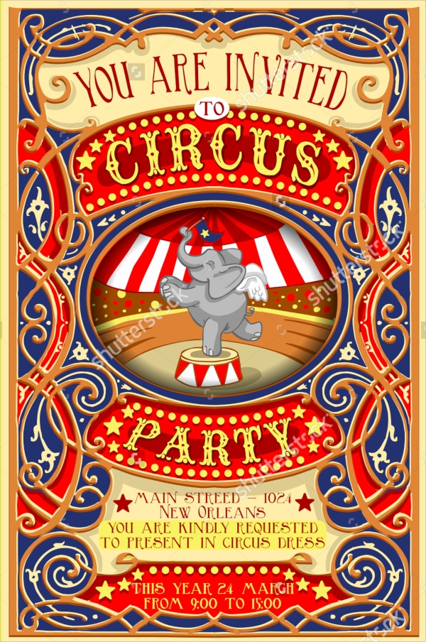 cartoon circus party invitation
