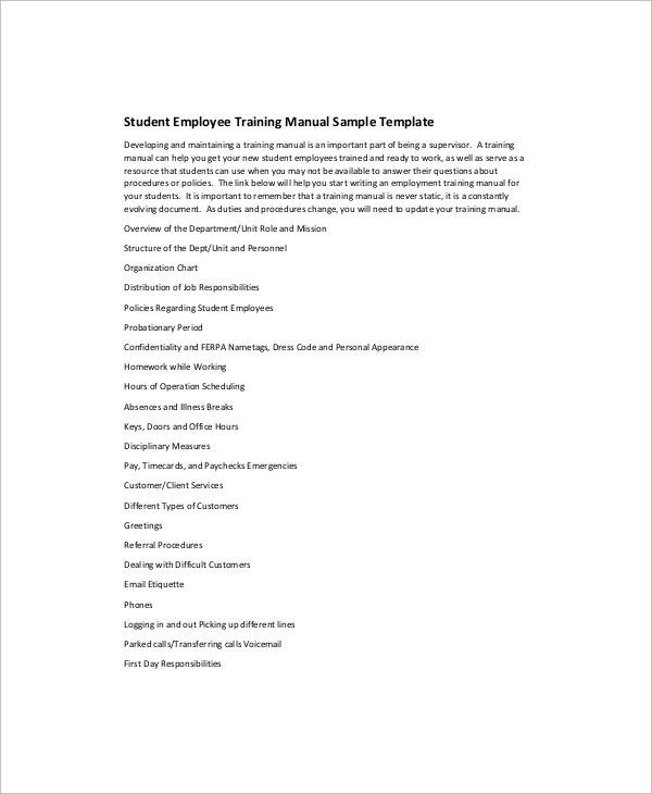 employee training manual template