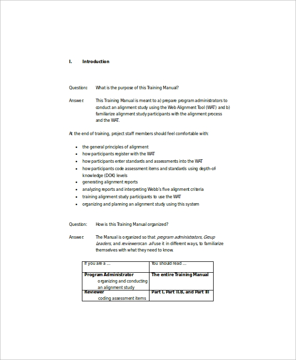 training manual template