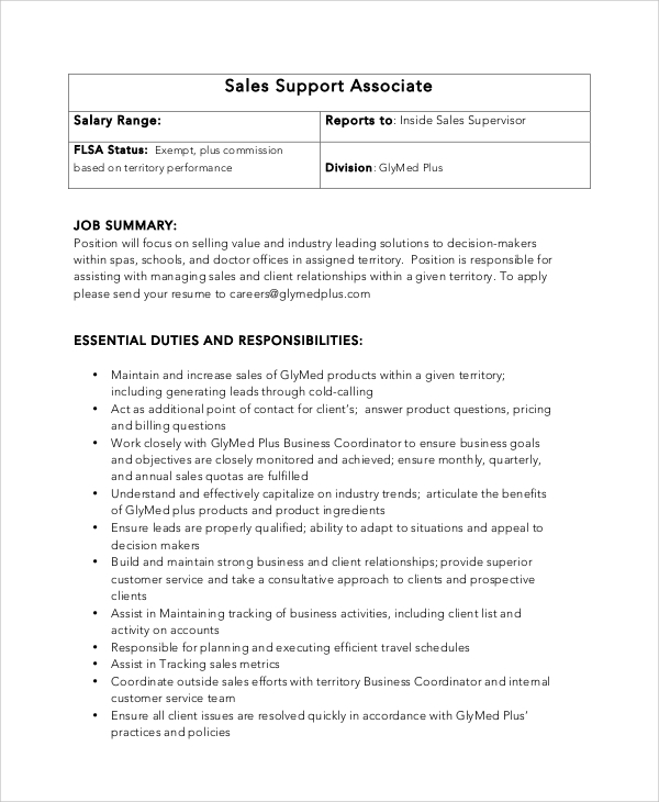sales support associate job duties