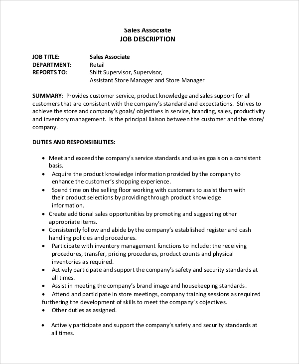 Sample Sales Associate Job Dutie   Documents In Pdf