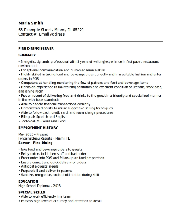 Superb Fine Dining Waitress Resume