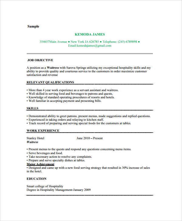 experienced waitress resume example