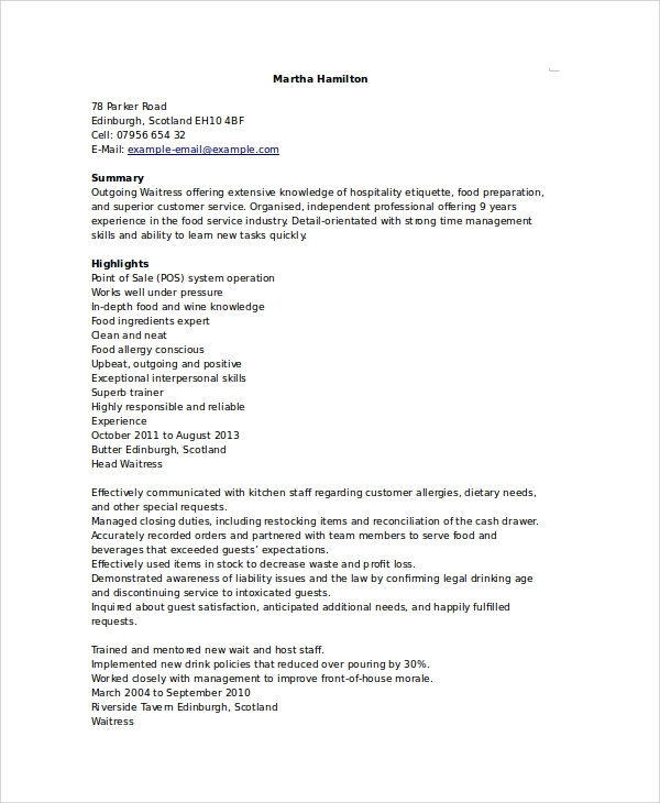 waitress duties resume sample waitress resume 6