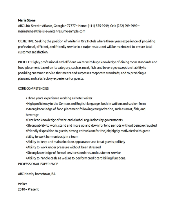 resume example for waitress