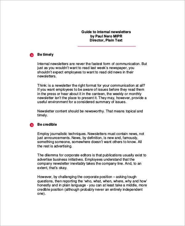 internal business newsletter