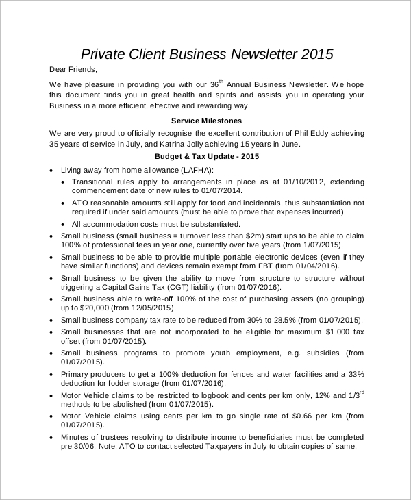 private client business newsletter