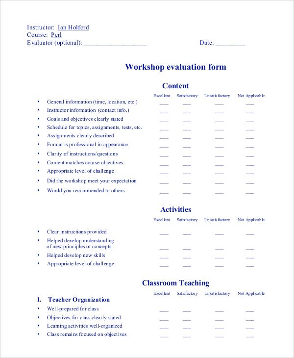 basic workshop evaluation form