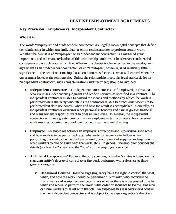Sample Dentist Employment Agreement   Documents In Word Pdf
