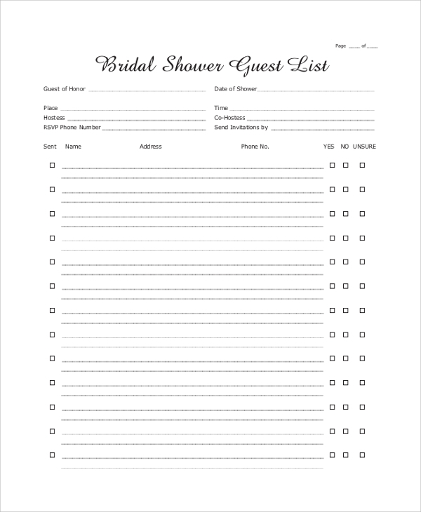 sample wedding guest list