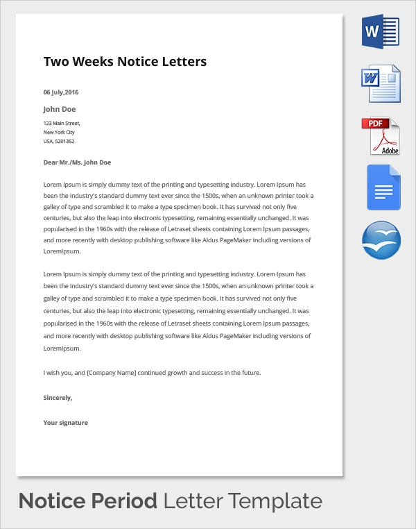 two weeks notice period resignation letter