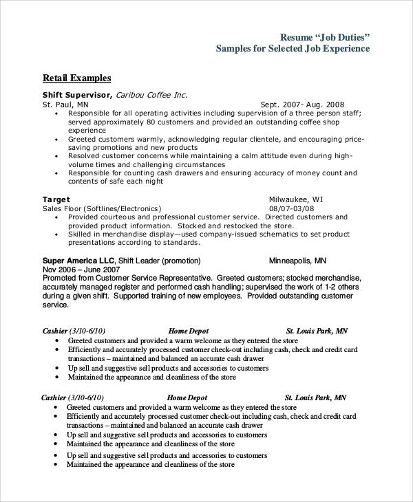 Head Cashier Resume Writing Tips And Example Job Descriptions Resume  Examples Samples Home Design Resume CV  Job Descriptions For Resume