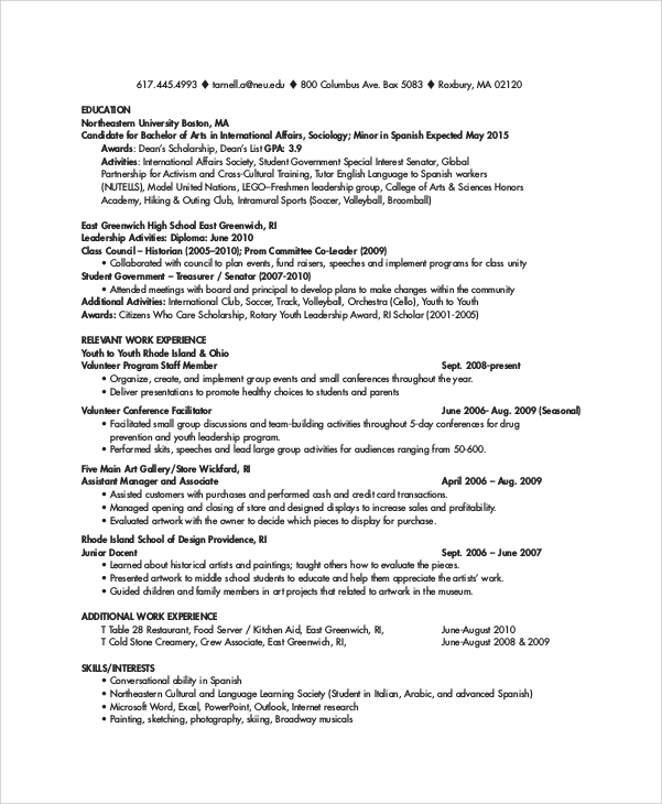 Free 8 College Resume Templates In Pdf Ms Word