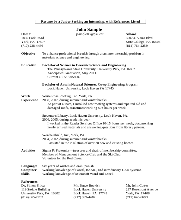8+ College Resume Examples, Templates | Sample Templates