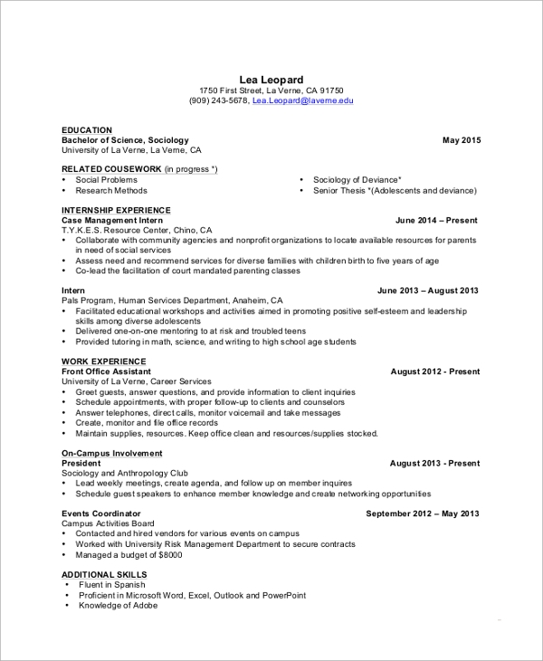 Sample College Student Resume For Internship INPIEQ  Undergraduate College Resume