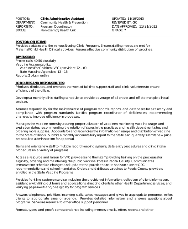 Sample Medical Assistant Job Dutie - 7+ Documents In Word, Pdf
