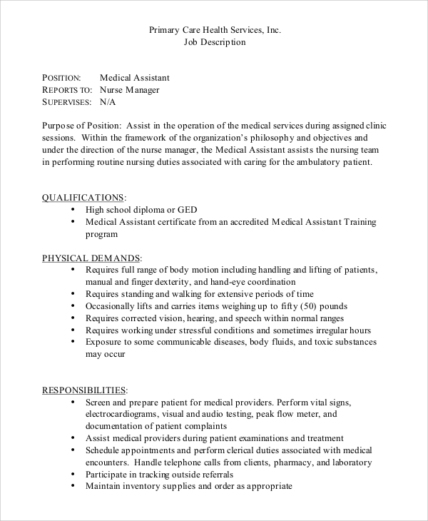 Sample Medical Assistant Job Dutie   Documents In Word Pdf