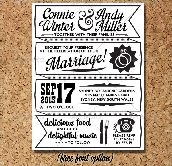 retro wedding invitation postcard template