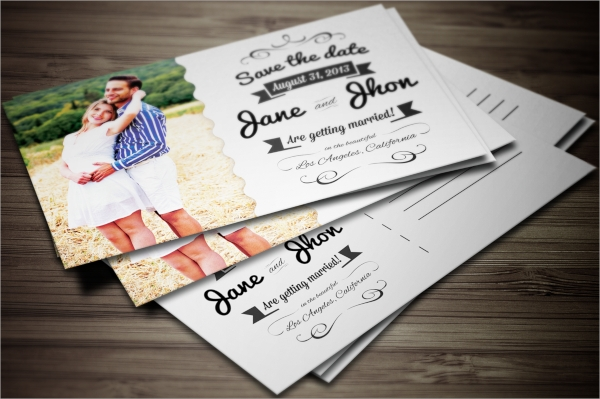 colorful wedding invitation postcard