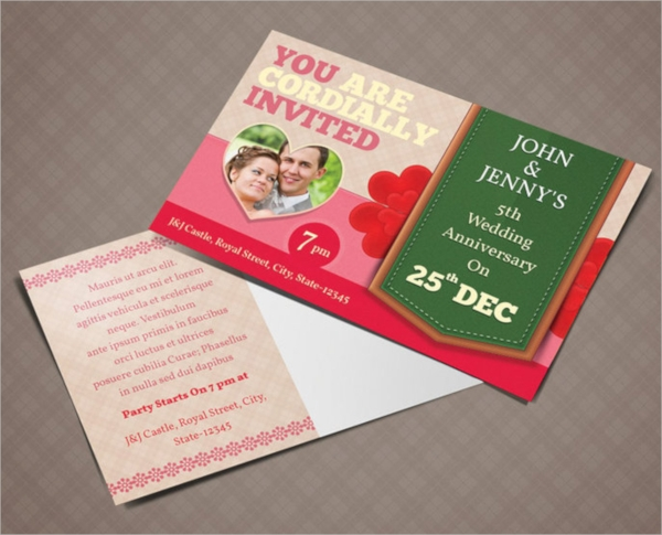 colorful wedding invitation postcard design
