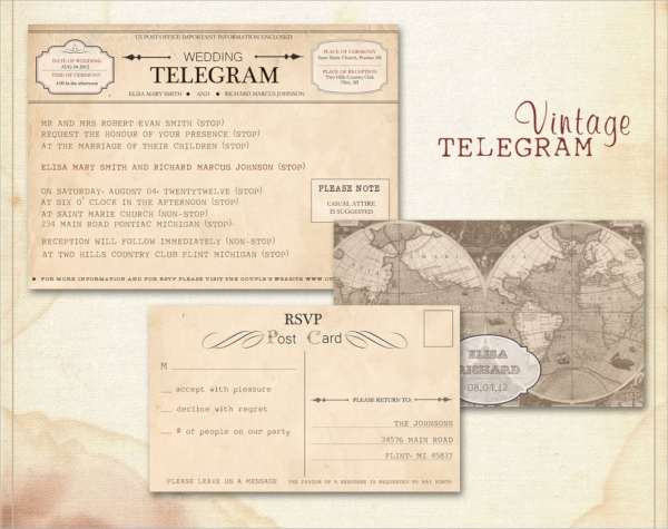 fabalous wedding invitation postcard