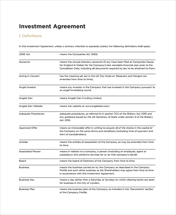 Investment Agreements Business Investment Agreement Template Pdf