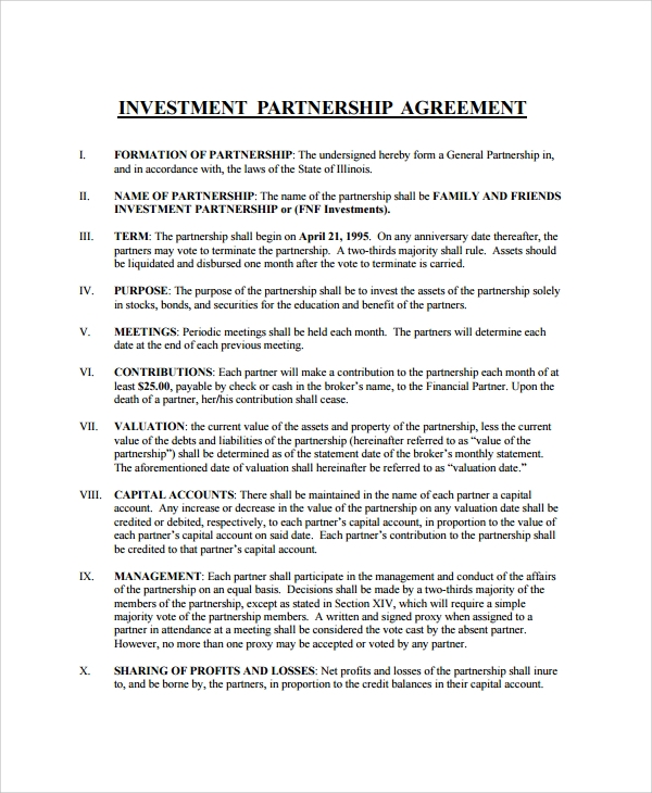 Business Partnership Investment Agreement  Investor Contract Template Free