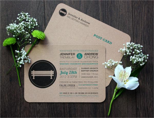 fantastic wedding invitation postcard