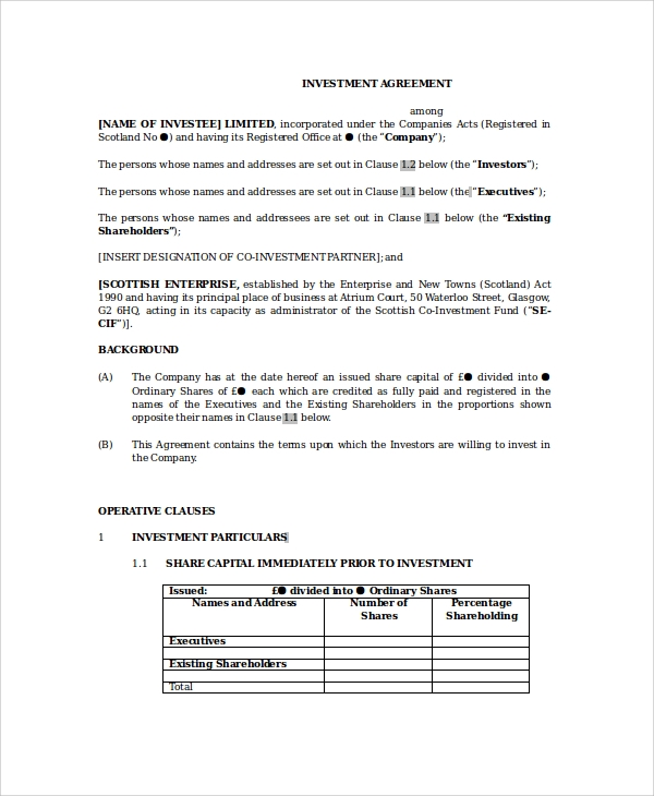 Sample Business Investment Agreement   Documents In Pdf Word